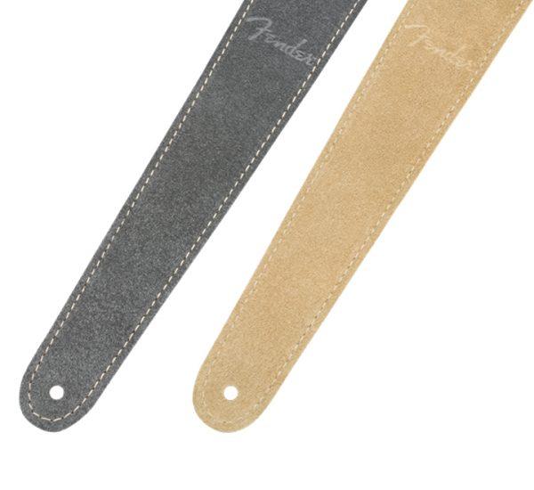 Fender 2″ Reversible Suede Strap Gray-Tan Detail