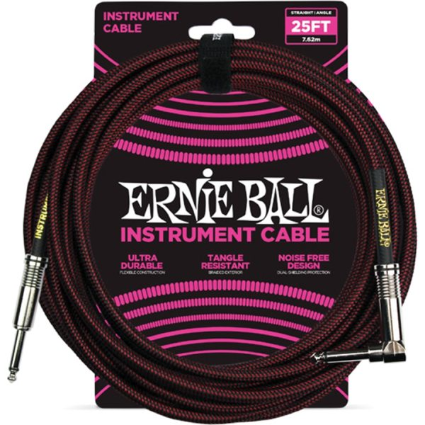 Ernie Ball 6062 Cavo Braided Black-Red 7,62