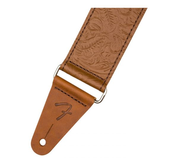 Fender 2 Tooled Leather Strap BRN Detail
